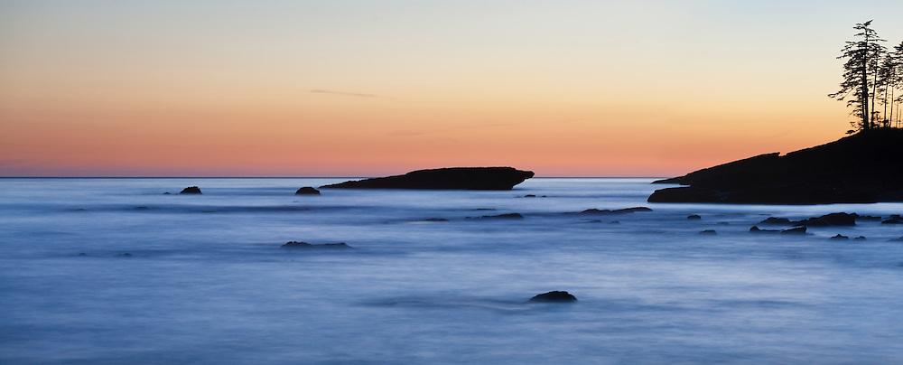 Rocky coastline at dusk, West Coast Trail, British Columbia, Canada.