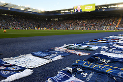 Tributes from other football clubs and fans surround the pitch ahead of the Premier League match at the King Power Stadium, Leicester.