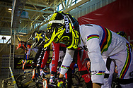 #1 (BUCHANAN Caroline) AUS and  #32 (CRAIN Brooke) USA on the start gate at the 2014 UCI BMX Supercross World Cup in Manchester.