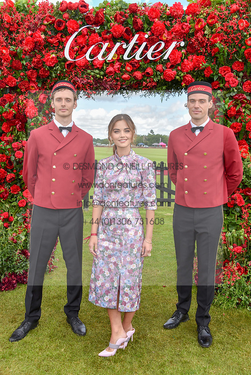 Jenna Coleman at the Cartier Queen's Cup Polo 2019 held at Guards Polo Club, Windsor, Berkshire. UK 16 June 2019. <br /> <br /> Photo by Dominic O'Neill/Desmond O'Neill Features Ltd.  +44(0)7092 235465  www.donfeatures.com