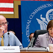 """Slade Gorton (left) and Jamie Gorelick. Panel: Military Response on 9/11. The 9/11 Commission's 12th public hearing on """"The 9/11 Plot"""" and """"National Crisis Management"""" was held June 16-17, 2004, in Washington, DC."""