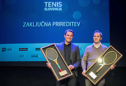 Denis Topcic and Jaka Dolenc at Slovenian Tennis personality of the year 2016 annual awards presented by Slovene Tennis Association Tenis Slovenija, on December 7, 2016 in Siti Teater, Ljubljana, Slovenia. Photo by Vid Ponikvar / Sportida