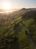 Aerial View of Swiss Countryside suring Sunset in Kanton Zürich in Switzerland