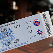 A New York Mets ticket for the New York Mets V Arizona Diamondbacks Baseball game at Citi Field, Queens, New York. 5th May 2012. Photo Tim Clayton