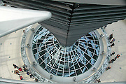 at the Reichstag in Berlin Germany, View of the glass dome above debating chamber Architect Norman Foster