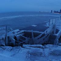 chicago frozen pier in the winter