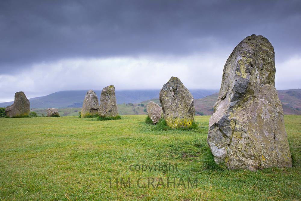 Stones of Castlerigg Stone Circle near Keswick in the Lake District, Cumbria, England