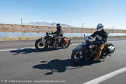 Steven Rinker riding his 1936 Indian Chief during stage 12 (299 m) of the Motorcycle Cannonball Cross-Country Endurance Run, which on this day ran from Springville, UT to Elko, NV, USA. Wednesday, September 17, 2014.  Photography ©2014 Michael Lichter.