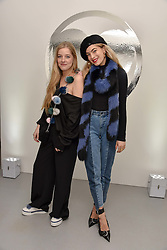 Left to right, Charlotte Simone and Chelsea Leyland at the Charlotte Simone LFW Autumn Winter 2017 showcase, The Vinyl Factory, 51 Poland Street, London England. 17 February 2017.