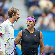 2019 US Open Tennis Tournament- Day Fourteen.   Rafael Nadal of Spain and Danill Medvedev of Russia at the net before the start of the Men's Singles Final on Arthur Ashe Stadium during the 2019 US Open Tennis Tournament at the USTA Billie Jean King National Tennis Center on September 8th, 2019 in Flushing, Queens, New York City.  (Photo by Tim Clayton/Corbis via Getty Images)