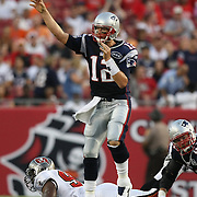 New England quarterback Tom Brady (12) throws a pass during an NFL football game between the New England Patriots and the Tampa Bay Buccaneers at Raymond James Stadium on Thursday, August 18, 2011 in Tampa, Florida.   (Photo/Alex Menendez)