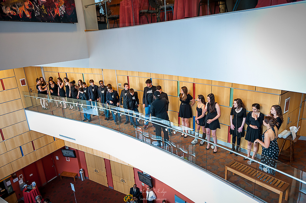 Columbia High School girls and boys A Cappella Group prepare to sing at the SOPAC 2015 Gala.