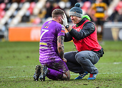 Ebbw Vale's Ronny Kynes receives treatment - Mandatory by-line: Craig Thomas/Replay images - 04/02/2018 - RUGBY - Rodney Parade - Newport, Wales - Newport v Ebbw Vale - Principality Premiership