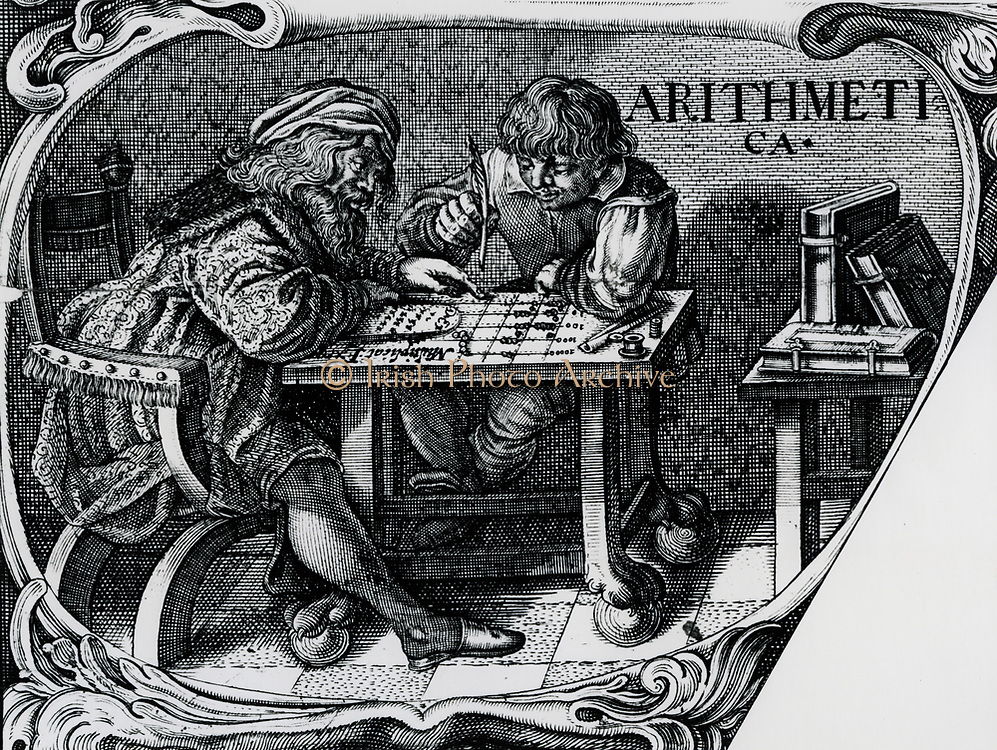 Merchant and clerk using a calculating table, 1630.