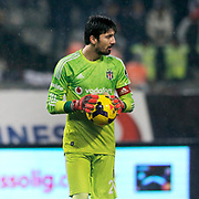 Besiktas's goalkeeper Tolga Zengin during their Turkish superleague soccer match Besiktas between Galatasaray at Ataturk Olimpiyat Stadium in Istanbul Turkey on Sunday 04 January 2015. Photo by Aykut AKICI/TURKPIX