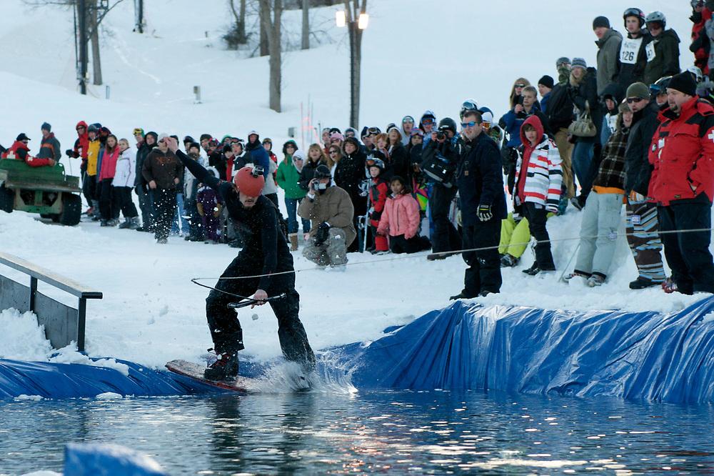 Snowboarding at Hidden Valley Ski Resort in Eureka, Missouri.