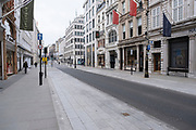 With very few people out and about the scene at Bond Street is one of empty desolation and all shops closed as the national coronavirus lockdown three continues on 3rd March 2021 in London, United Kingdom. With the roadmap for coming out of the lockdown has been laid out, this nationwide lockdown continues to advise all citizens to follow the message to stay at home, protect the NHS and save lives, and the streets of the capital are quiet and empty of normal numbers of people.