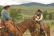 Cowgirls riding mules (Mulus mula) at Montana Mule Days, Drummond, Montana, <br /> MODEL RELEASED