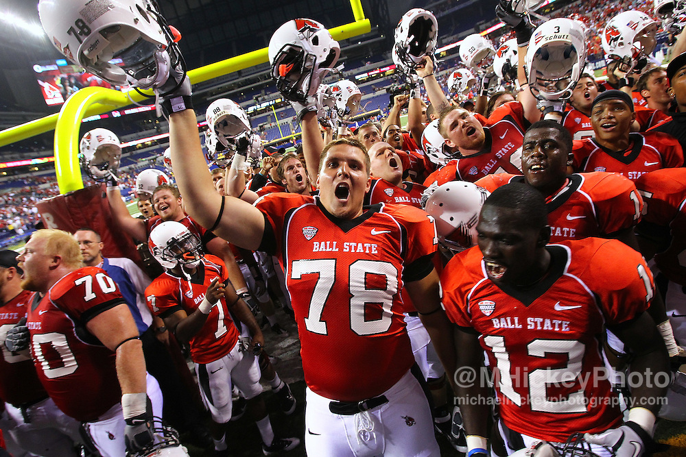 Sept. 03, 2011; Indianapolis, IN, USA; Members of the Ball State Cardinals celebrate after defeating the Indiana Hoosiers at Lucas Oil Stadium. Mandatory credit: Michael Hickey-US PRESSWIRE