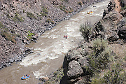 Three rafts on the Rio Grande River seen from above