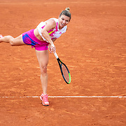 PARIS, FRANCE September 30. Simona Halep of Romania in action against Irina-Camelia Begu of Romania in the second round of the singles competition on Court Suzanne Lenglen during the French Open Tennis Tournament at Roland Garros on September 30th 2020 in Paris, France. (Photo by Tim Clayton/Corbis via Getty Images)