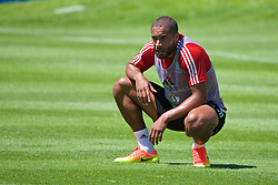 VALE DO LOBO, PORTUGAL - Wednesday, May 25, 2016: Wales' captain Ashley Williams during day two of the pre-UEFA Euro 2016 training camp at the Vale Do Lobo resort in Portugal. (Pic by David Rawcliffe/Propaganda)