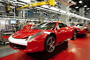 An employee works at the assembly line of Ferrari plant in Maranello, Italy, on Monday, July 18, 2011.<br /> Photo: Victor Sokolowicz / Bloomberg