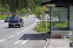 11.05.2010., Saalbach, Austria - A bride Martina Jerkovic (22) killed in a traffic accident on her way home from wedding reception. She was in the car with the groom Filip Jerkovic (25) and his parents Branko and Ana. Branko fell asleep while he was driving Audi and crashed into the Volkswagen van. Bride has suffered severe internal injuries and ambulance couldn't helped her. Groom's mother Ana has a broken ribs, groom Filip and his father Branko minor injuries. Friends and family are grieving the loss af a bride. Candles and flowers at the place of tragedy, on the road between Saalbach and Neukirchen. .EXPA Pictures © 2010, PhotoCredit: EXPA/ nph/ Stanz / SPORTIDA PHOTO AGENCY