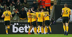 Wolverhampton Wanderers' Raul Jimenez (third right) celebrates scoring his side's first goal of the game