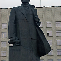 A statue of Vladamir Lenin stands in front of an office building in the northern Russian port of Arkhangel'sk, near the Arctic Ocean.