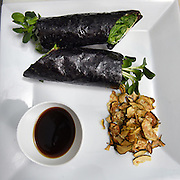 """Mara Lavitt /For Hearst Connecticut Media<br /> February 6, 2016<br /> Catch A Healthy Habit Cafe, Fairfield. The nori wrap: nori, fig marmalade, cashew """"cheese,"""" beet, sunflower sprouts, avocado, crispy onion, spinach, """"salt & vinegar"""" zucchini chips; and a dipping sauce."""