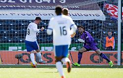 Boyd scoring their fourth goal. Kilmarnock 4 v 0 Falkirk, second leg of the Scottish Premiership play-off final.
