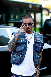 Street style, J Balvin arriving at Off White Spring-Summer 2019 menswear show held at Palais de Chaillot, in Paris, France, on June 20th, 2018. Photo by Marie-Paola Bertrand-Hillion/ABACAPRESS.COM
