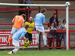 © Licensed to London News Pictures . 02/08/2015 . Droylsden Football Club , Manchester , UK . NICO MIRALLEGRO heads the ball on to the corner of the bar . Celebrity football match in aid of Once Upon a Smile and Debra , featuring teams of soap stars . Photo credit : Joel Goodman/LNP