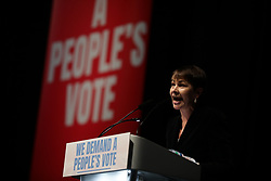 © Licensed to London News Pictures. 09/12/2018. London, UK. Green Party leader Caroline Lucas MP speaks at a People's Vote rally at the Excel Centre in London. MPs will vote on Prime Minister Theresa May's proposed Brexit deal in the coming week. Photo credit: Rob Pinney/LNP