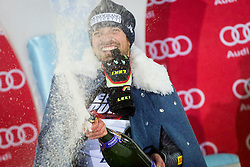 "Manfred Moelgg (ITA) during flower ceremony after the FIS Alpine Ski World Cup 2016/17 Men's Slalom race named ""Snow Queen Trophy 2017"", on January 5, 2017 in Course Crveni Spust at Sljeme hill, Zagreb, Croatia. Photo by Ziga Zupan / Sportida"