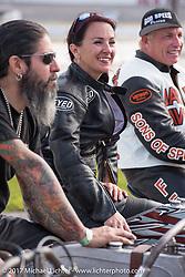Roxie Hanna on her 1918 Harley-Davidson Model-J racer at Billy Lane's Sons of Speed vintage motorcycle racing during Biketoberfest. Daytona Beach, FL, USA. Saturday October 21, 2017. Photography ©2017 Michael Lichter.