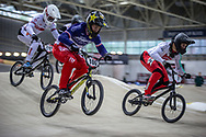 #100 (MAHIEU Romain) FRA during practice at the 2019 UCI BMX Supercross World Cup in Manchester, Great Britain