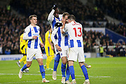 Brighton and Hove Albion striker Glenn Murray (17) celebrates his goal with Brighton and Hove Albion midfielder Pascal Gross (13) and Brighton and Hove Albion midfielder Yves Bissouma (8) during the Premier League match between Brighton and Hove Albion and Crystal Palace at the American Express Community Stadium, Brighton and Hove, England on 4 December 2018.