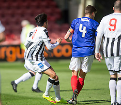 Dunfermline's Faissal El Bahktaoui scoring their first goal. <br /> Half time : Dunfermline 4 v 0 Cowdenbeath, SPFL Ladbrokes League Division One game played 15/8/2015 at East End Park.