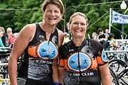 Ann Huntington-Lozis (L) and Tava Foster competing in the 2018 Hague Endurance Festival Olympic Triathlon
