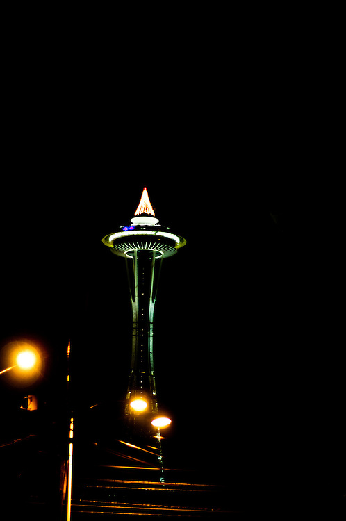 A nighttime shot of the Space Needle on New Year's Eve from the Lower Queen Anne neighborhood, Seattle, Washington