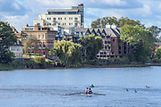 Chiswick, Greater London, UK., 11th October 2020, General View, Pairs Head of the River Race,  looking back towards Mortlake,  Restricted entry and Shortened Course, COVID-19,  Barnes Bridge and Dukes Meadows location, [Mandatory Credit: Peter Spurrier/Intersport Images]