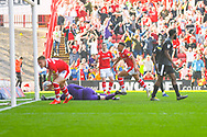 Jacob Brown of Barnsley (33) scores a goal and celebrates to make the score 2-1 during the EFL Sky Bet League 1 match between Barnsley and Shrewsbury Town at Oakwell, Barnsley, England on 19 April 2019.