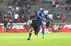 South Africa: Johannesburg: Orlando Pirates Nyauza Ntsikelelo and  SuperSport United  Rusike Evans during the Absa Premiership at the Orlando stadium, Gauteng. <br />Picture: Itumeleng English/African News Agency (ANA)