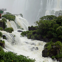 South America, Brazil, Iguacu Falls.  Overlook at Devil's Throat, Iguacu Falls.