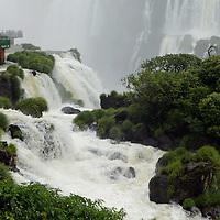South America, Brazil, Iguacu Falls.  Overlook at Devil's Throat, Iguacu Falls.