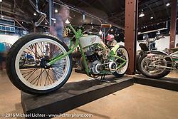 Bonneville Customs' Jon MacDowell built 2014 Harley-Davidson Boardtracker on Saturday in the Handbuilt Motorcycle Show. Austin, TX, USA. April 9, 2016.  Photography ©2016 Michael Lichter.