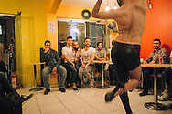 Wissam dances for Hussein (C), Mr Gay Syria 2016, for his birthday in Istanbul, Turkey.