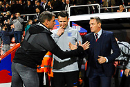 England U21's head coach Aidy Boothroyd shakes hands with Germany U21's head coach Stefan Kuntz before kick off during the U21 International match between England and Germany at the Vitality Stadium, Bournemouth, England on 26 March 2019.